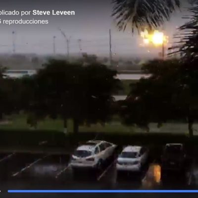 Snapshot of parking lot view during Hurricane Irma