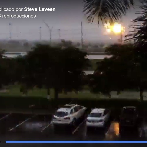 Snapshot of parking lot view during Hurricane Irma